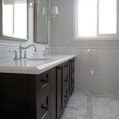painting bathroom cabinets dark brown master bathroom calacatta with dark vanity and subway tile home - Painting Bathroom Cabinets Dark Brown