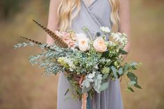 "Bridesmaid Bouquet. Heather Durham Photography Hunting Lodge Wedding Styled Shoot at Sawtooth Plantation. Bridesmaids Dress ""Ceremony"" by Joanna August from Bella Bridesmaids, Groom's Suit by Billy Reid from Saks, Floral Design by Thorne & Thistle, Planning by Invision Events."
