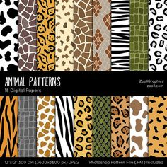 Animal Digital Papers by ZoollGraphics on . Perfect for invitations, digital scrapbooking, packaging, greeting cards, D. Digital Scrapbooking, Digital Papers, Motifs Animal, Paper Animals, Burlap Lace, Graphic Patterns, Graphic Design, Stuffed Animal Patterns, Creative Sketches