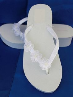 Items similar to SALE - Ivory Flip Flops - White Wedge Flip Flops Sandals with Organza Flowers Beach Wedding Sandals on Etsy White Wedge Flip Flops, Flip Flop Sandals, Flat Sandles, Wedge Sandals, Beach Wedding Sandals, White Wedding Shoes, Bridal Sandals, Ivory Wedding, Bridal Wedges