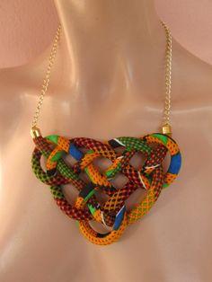 Decorative knot, wax fabric print Bib Necklace , orange, , girl gift