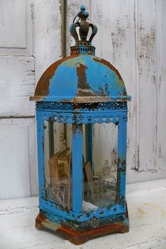 Lantern style display case Caribbean blue and by AnitaSperoDesign, $265.00