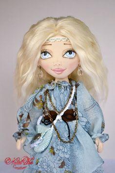 Rag art doll handmade by NatalKa Creations