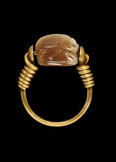Etruscan Agate Scarab Ring. circa 4th-3rd Century BC.