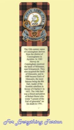 Cunningham Clan Tartan Clan Cunningham Badge Laminated Bookmark