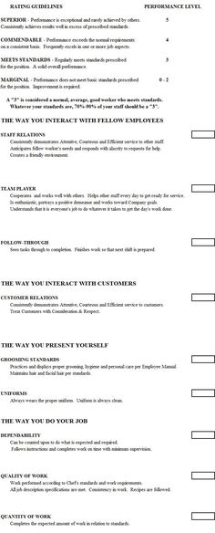 Employee Performance Evaluation Form Template Connections - restaurant survey template