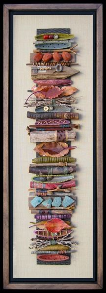 "Mixed Media Art ""Sticks"" - Bridget Hoff Witch witchy craft inspiration pagan…I don't like the frame, but the art is cool. Art Altéré, Arte Fashion, Stick Art, Art Textile, Painted Sticks, Inspiration Art, Collaborative Art, Assemblage Art, Nature Crafts"