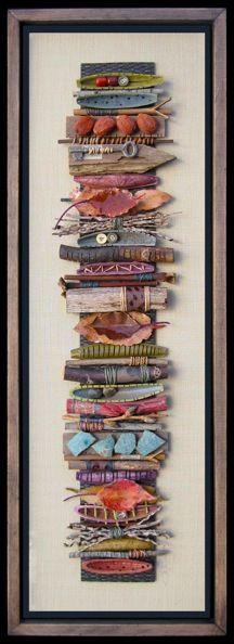 art sticks, textile collage art, witchy crafts, sticks art, stick art, bridget hoff, art displays, mix media, mixed media art