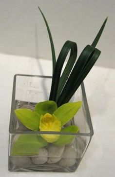 Simple Orchid Arrangement. Fold grass over and staple to form loop.