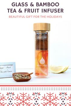 Looking for the perfect Christmas gift?  We found it. New double walled glass and bamboo fruit and tea infuser bottle.  The perfect way to make infused water and add in your favorite tea for that extra zing.  10% off with code: pinterest through January 1, 2016