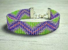Bead Loom Bracelet Purple Pink Beaded by BeadWorkBySmileyKit