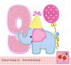 Embroidery applique Birthday Elephant Number от CherryStitchDesign