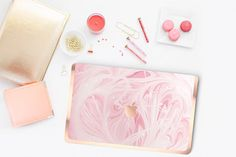 """Platinum Edition Pink Marble Swirl with Rose Gold/Copper Edge Detailing Hybrid Hard Case for Apple Mac Air & Mac Pro Retina, Mac 12"""""""