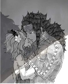 Black and white - Gajeel and Levy art by rboz