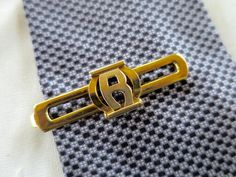 Art Deco R Initial Tie Clip Gold Finish R Tie Clasp Spoon Back