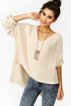Cambridge Knit in Cream --loving this baggy type of sweater with skinny jeans.