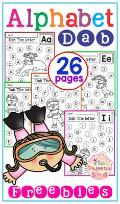 Free Alphabet Dab contains 26 pages of worksheets. This product is designed to help practice and recognize the alphabet letters. This set is perfect for Preschool and Kindergarten students.  Preschool | Kindergarten | Preschool Worksheets | Kindergarten Worksheets | Free Alphabet Dab | Free Lessons | Printables | Phonics