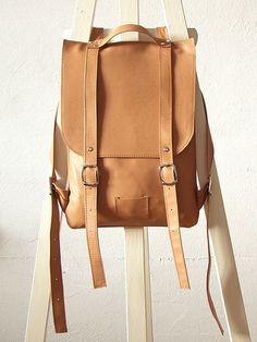 Nude leather backpack rucksack / To order van kokosina op Etsy, $119.00