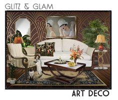 """Glitz & Glam: Art Deco II"" by signaturenails-dstanley ❤ liked on Polyvore featuring interior, interiors, interior design, home, home decor, interior decorating, Nearly Natural, Pacific Coast, Distinctive Designs and Michael Aram"