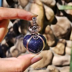 Delightfully glittery blue Goldstone heart wrapped in antiqued copper. Available in my Etsy shop . https://www.etsy.com/listing/578737737/blue-goldstonegalaxy-stone-puffy-heart