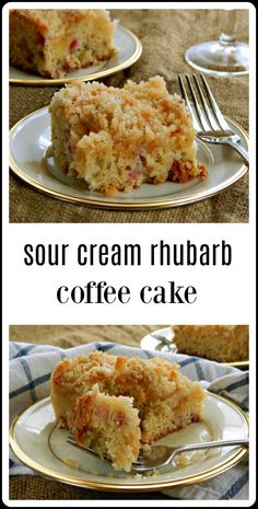 When the spring rhubarb is out, this is the coffee cake you're gonna want to bake - and eat! A big, light, fully Sour Cream Rhubarb Coffee Cake with just the right sweet tart kick. Bonus for super easy and mix by hand. Rhubarb Coffee Cakes, Rhubarb Desserts, Rhubarb Cake, Köstliche Desserts, Sweet Recipes, Cake Recipes, Dessert Recipes, Sour Cream Cake, Sweet Tarts
