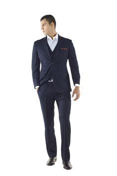 Navy Three Piece Suit Athletic Cut Mens Suit by Ravis Custom Tailor