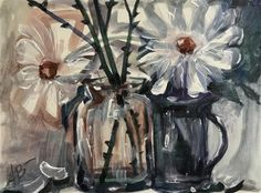 """Daily Paintworks - """"Daisies with thorns"""" - Original Fine Art for Sale - © Annette Balesteri"""