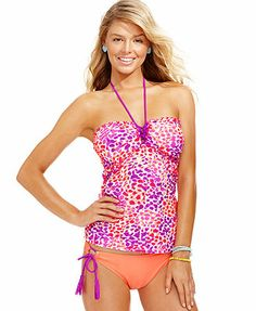 faccb8448d422 Hula Honey Printed Tankini Top   Side-Tie Bottoms Modest Swimsuits