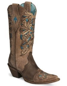 Corral inlay laser tooles cowgirl boot-pointed toe