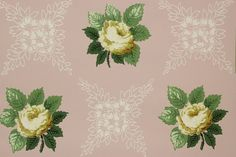 1940's Vintage Wallpaper Yellow Roses on Pink by RosiesWallpaper, $14.00