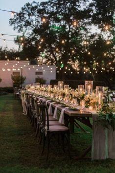 Backyard wedding ideas with Edison lightbulb fairy lights - Wedding Decorations Wedding Goals, Boho Wedding, Dream Wedding, Wedding Day, Wedding Dreams, Long Table Wedding, Wedding Dinner, Trendy Wedding, Wedding Bride