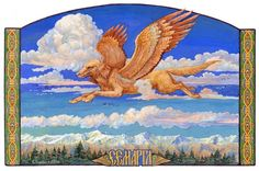 Semargl-Pereplut is a mythical creature in Slavic mythology. In the Book of Veles he is the father of Skif - the founder of Skifia (Scythia). It is often portrayed as a large dog with wings.It is the equivalent of Simurgh in Persian mythology who is also represented like a griffin with a dog body.
