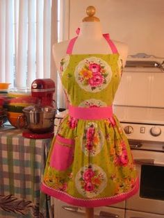 Pink and Green Apron