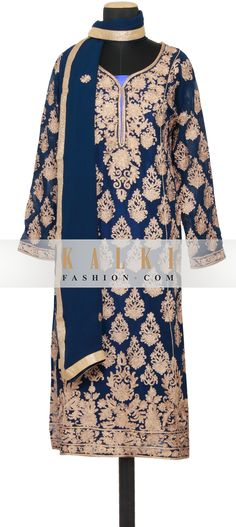 Buy Online from the link below. We ship worldwide (Free Shipping over US$100)  http://www.kalkifashion.com/featuring-a-navy-blue-chiffon-straight-cut-semi-stitched-salwar-kameez-embellished-in-zari-embroidery-only-on-kalki.html
