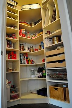 Organization: Corner pantry for the basement. More ideas on website.