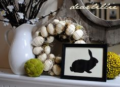 I added this bunny to a white plate instead of a frame - CUTE - love this Easter mantel