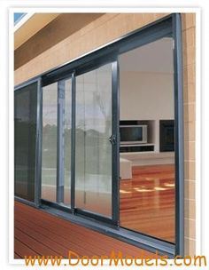 Stacker slide doors to outdoor area, I like grey aluminium, if it will go OK with the existing windows, which are white - Monica