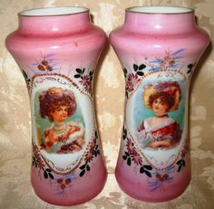 Victorian Matched Pair of Portrait Bristol Glass Vases Hand Painted Gold Gilt $875.