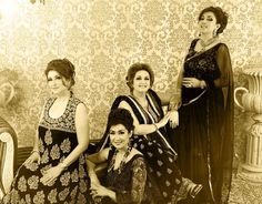 4 Daughters of Madem Noor Jahan. Mina Hasan is an emerging fashion designer. She has lots of energy and potential to do very good and ard work. She did legacy shoot of Madam Noor Jehan with four daughters of Madam Noor Jehan .