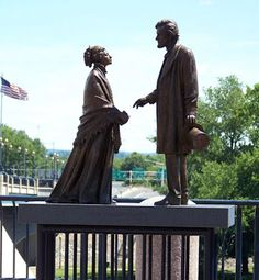 "Hartford, Connecticut has 15 sculptures and statues dedicated to Abraham Lincoln along its riverfront. The above statue of Abe greeting Harriet Beecher Stowe, author of ""Uncle Tom's Cabin"" (and a native of Hartford) is one of those statues which represent various events in Lincoln's life."