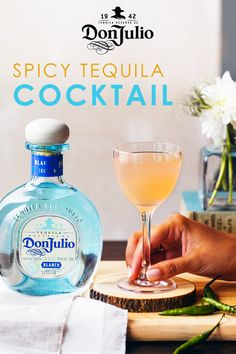 """We're spicing up Don Julio with the """"Hot for Jalisco"""" cocktail. Crafted using fresh mango and guava juices with a kick of chili pepper, this sweet & spicy combo will jump start your happy hour.  To make, add Fresh Chili Pepper to a shaker. Gently muddle. Add 1.5 oz. Don Julio Blanco (gluten-free and made with 100% Blue Agave Plant!), 0.5 oz. Fresh Mango Juice, 0.5 oz. Fresh Guava Juice, 0.25 oz. Fresh Lime Juice & Ice to shaker. Shake vigorously. Strain over a fine strainer into a 6 oz…"""