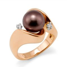 Chocolate Tahitian Pearl Ring with Diamonds in 14K Rose Gold