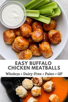 Recipes Lunch Buffalo Chicken Meatballs - a spin on your classic appetizer or a fun and different weeknight dinner! These Buffalo Chicken Meatballs are perfect for meal-prep and work lunches! Dairy Free Recipes, Paleo Recipes, Gluten Free, Detox Recipes, Dairy Free Lunches, Candida Recipes, Advocare Recipes, Cooking Recipes, Paleo Whole 30