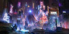Cyberpunk City by Jordan Grimmer Cyberpunk City, Sci Fi City, Hd Widescreen Wallpapers, Splash Screen, Retro Futuristic, Futuristic Architecture, Astral Projection, Environment Concept Art, Night City