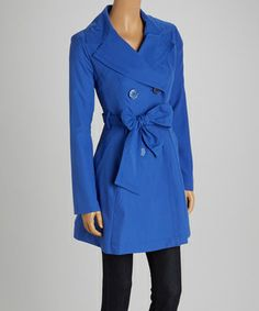 981435341f Darling Blue Double-Breasted Trench Coat - Women