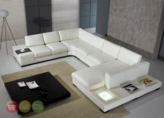 Modern White Top Grain Leather Modular Sectional Sofa Contemporary Couch T35 | eBay