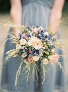 blue thistle orange poppy wedding - Google Search