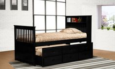 Myco Furniture - Avalon Twin Captains Bed w/Storage Trundle - 9063-BK