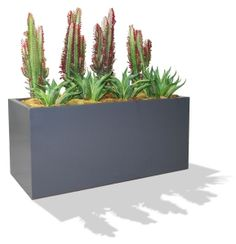 Measuring long and deep, the Badalona fiberglass planter box is the perfect size to be used as an herb garden planter, window box planter or flower box planter.