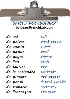 Free Audio Lesson to Learn French herbs vocabulary + all spices and seasoning.